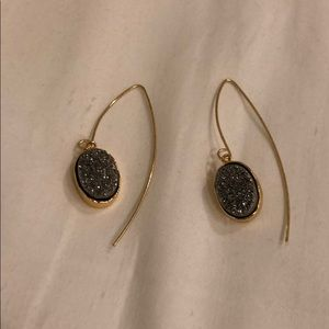 BaubleBar Grey and Gold Druzy Drop Earrings